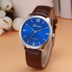Men's Gevena Watch Faux Leather Band Analog Quartz Wrist