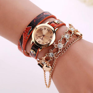Leather Rhinestone Rivet Chain Quartz Bracelet