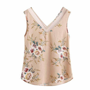 Women Floral Tank Tops Casual V Collar Sleeveless