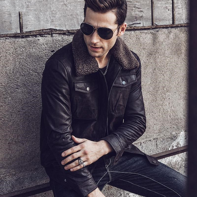 Men's Real Leather Jacket with Faux Fur Collar