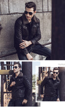 Load image into Gallery viewer, Men's Real Leather Jacket with Faux Fur Collar