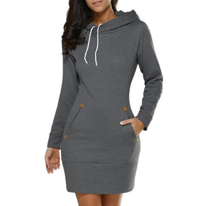 Women's Hooded Long Sleeve Sweater Jumper Pockets Mini Dress
