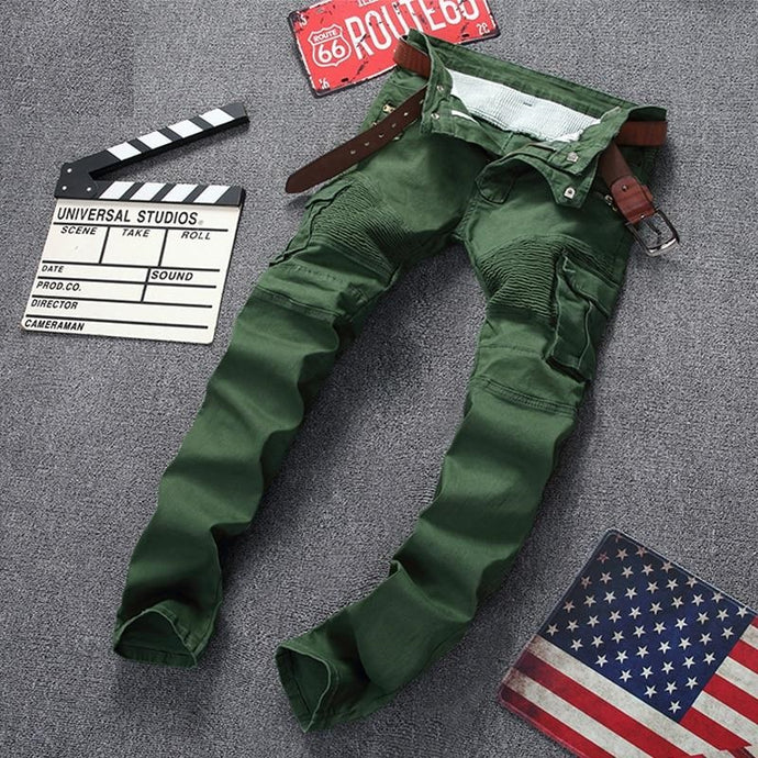 Men's Zipper Patchwork Slim Straight Dark Green Jeans