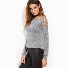 Load image into Gallery viewer, Women's Long Sleeve Grey Crisscross Hollow Out Open Shoulder T-shirt