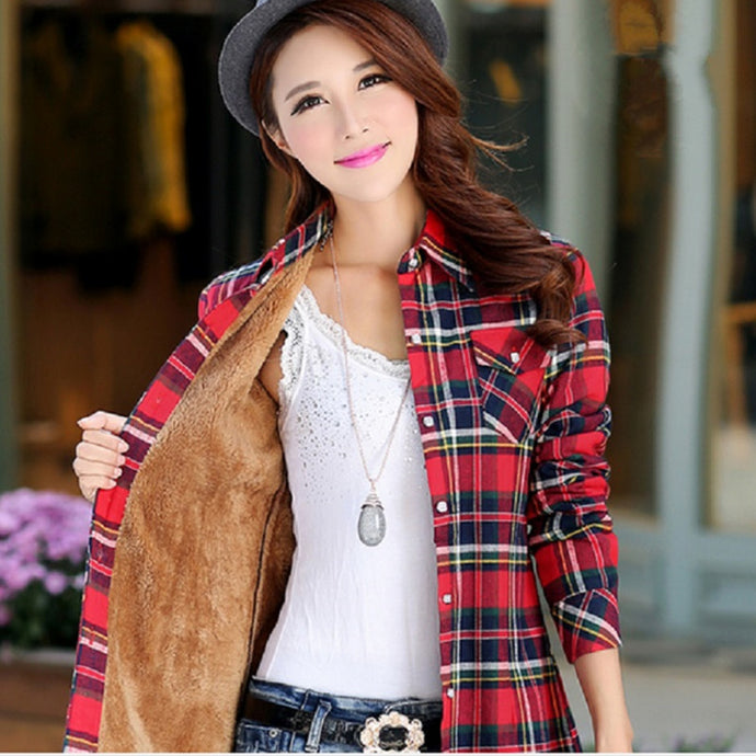Women's Autumn Winter Warm Cotton Long-sleeve Thick Flannel Shirt