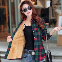 Load image into Gallery viewer, Women's Warm Cotton Long-sleeve Thick Flannel Shirt