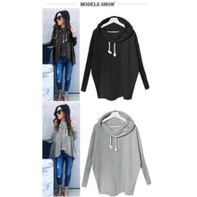 Load image into Gallery viewer, Women's Sweatshirt Bow Neck Long Sleeve Loose Hoodies