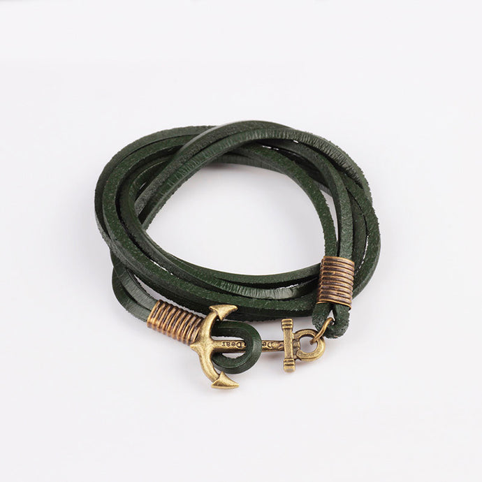 Retro Anchor Leather Bracelet 4 Different Colors