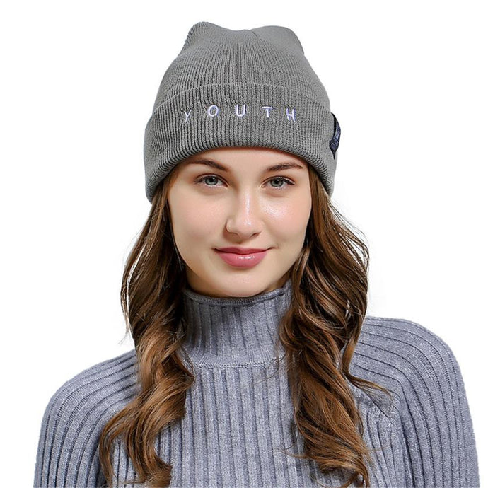 YOUTH Letters Women Winter Vogue Knitted Hat