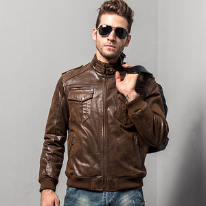 Men's Leather Jacket Padding Cotton Winter Warm