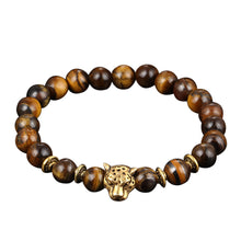Load image into Gallery viewer, Obsidian Bracelet Buddha Head Gold Bracelet Lava Stone