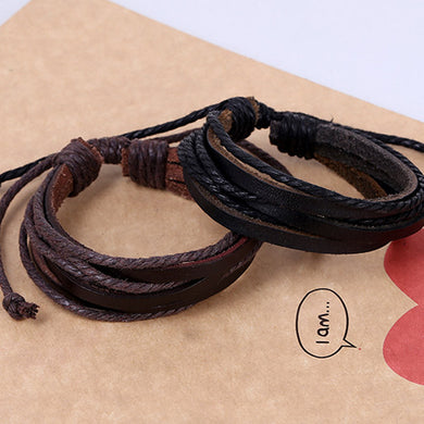 Multilayer Leather Chain Charms Bracelet Wrist  Black