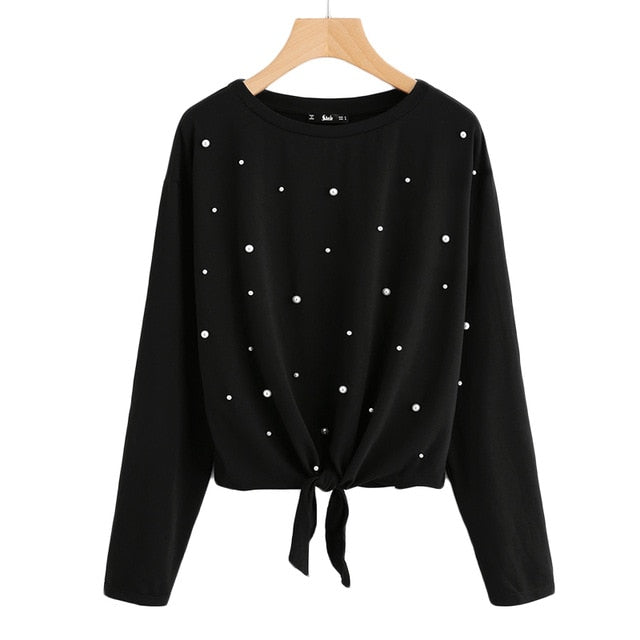 Women's Pearl Beaded Knot Front Cute Tee Shirt Black Long Sleeve Round Neck