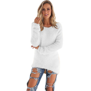 Women's O-Neck Sweater Hedging Loose Pullover Casual Solid Sweaters