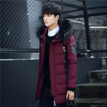 Load image into Gallery viewer, Men's Long Jacket Faux Fur Collar Plus Thick White Duck Down Coats