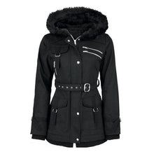 Load image into Gallery viewer, Women's Black Winter Hooded Zipper Belt Mountaineering Velvet Overcoat Casual
