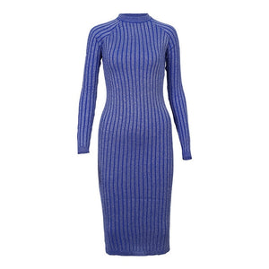 Women's Warm and Charm Sweater Dress Elastic Striped Skinny Knitted Dress