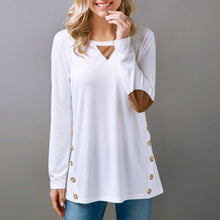 Load image into Gallery viewer, Women's Tops Casual Long Sleeve Round Neck Button Sweatshirt