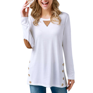 Women's Tops Casual Long Sleeve Round Neck Button Sweatshirt