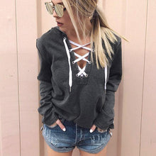 Load image into Gallery viewer, Women's Hooded Sweatshirt Lace Up Long Sleeve