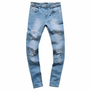 Men's Ripped Slim Fit Vintage Denim Jeans