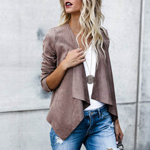 Load image into Gallery viewer, Women's Long Sleeve Turn Down Neck Solid Irregular Hem Open Front Jacket