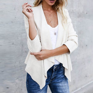Women's Long Sleeve Turn Down Neck Solid Irregular Hem Open Front Jacket