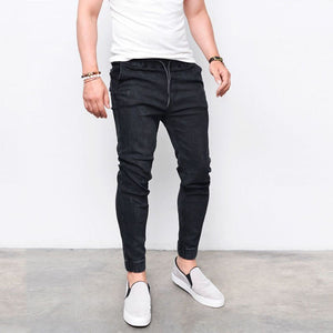Men's Harem Jeans Washed Feet Shinny Denim Elastic Waist Pants