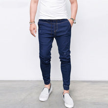 Load image into Gallery viewer, Men's Harem Jeans Washed Feet Shinny Denim Elastic Waist Pants