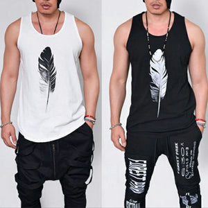 Men's Gym Sleeveless T Shirt Feather Printing