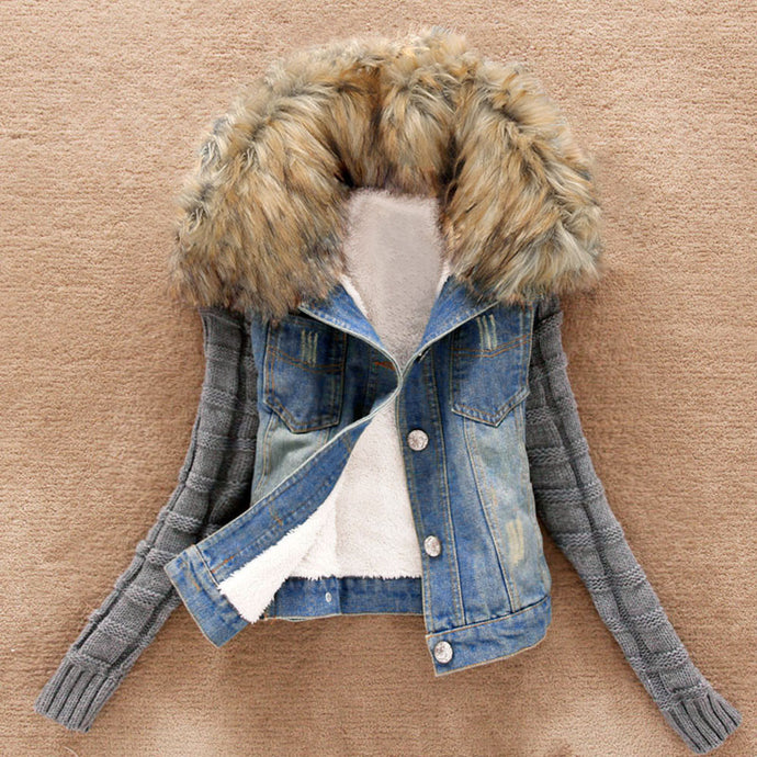 Women's Winter Warm Jeans Button Knit Sleeve Cowboy Denim Pockets Jacket Coat