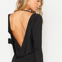 Load image into Gallery viewer, Women's Black Backless Solid Long Sleeve Draped Plain Bodysuit