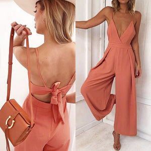 Women Causal V Neck Back Bow Jumpsuit
