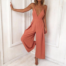 Load image into Gallery viewer, Women Causal V Neck Back Bow Jumpsuit