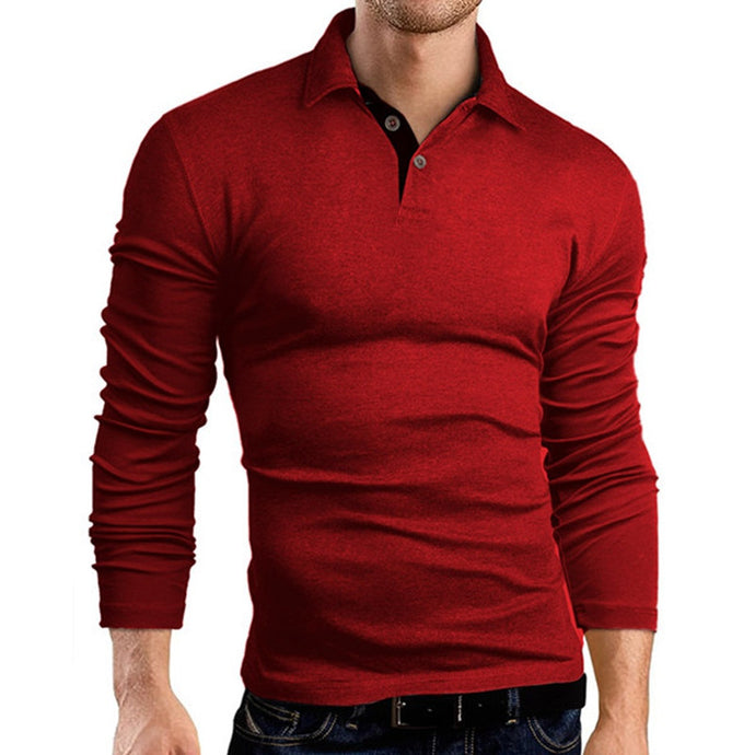 Men's Tshirt Turn-down Collar Long Sleeve Slim Fit Solid colors