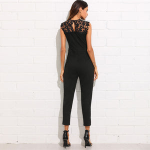 Women's Guipure Lace Yoke Solid Jumpsuit Sleeveless Button Pocket