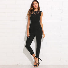 Load image into Gallery viewer, Women's Guipure Lace Yoke Solid Jumpsuit Sleeveless Button Pocket