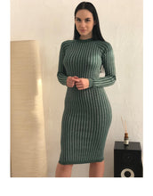 Load image into Gallery viewer, Women's Warm and Charm Sweater Dress Elastic Striped Skinny Knitted Dress