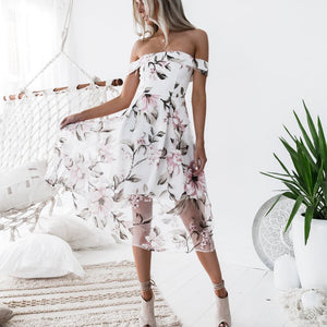 Women's Summer Off Shoulder Floral Printed Long Maxi Dress