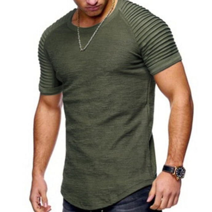 Men's Short Sleeve O-neck Fold Shoulder Side T-shirts