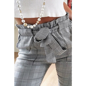 Women's New 2018 Fashion Gray Grid Casual Pants