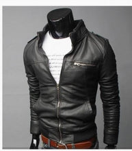 Load image into Gallery viewer, Men's PU Leather Jacket Collar British version