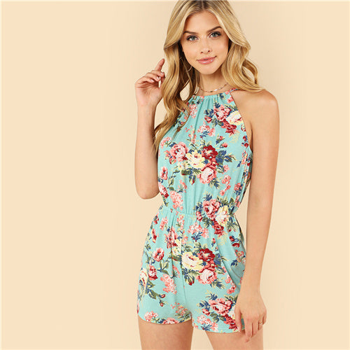 Women's Multicolor Floral Print Backless Halter Sleeveless High Waist Jumpsuit