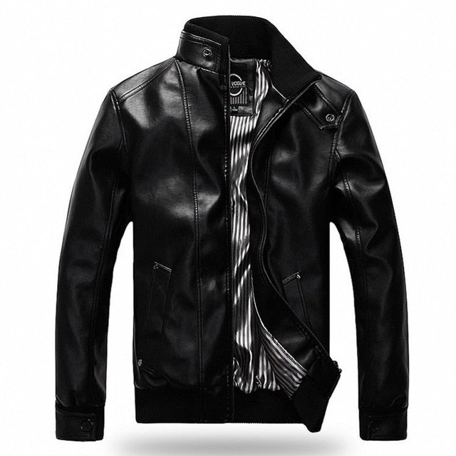 Men's PU Leather Jacket Black or Brown
