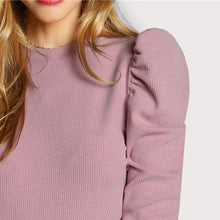 Load image into Gallery viewer, Women's Elegant Pink Long Sleeve O Neck Tee Shirts Puff Sleeve