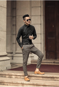 Men's Skinny Solid Color Woolen Suit Pants
