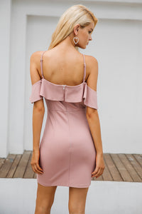 Women's Strap Cold Shoulder Ruffle Winter Dress Sexy Backless Split Bodycon
