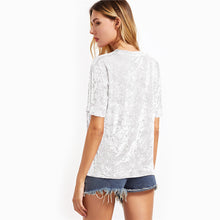 Load image into Gallery viewer, Women's White Sleeve Crushed Velvet T-shirt Round Neck
