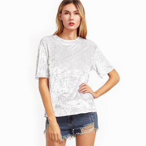 Women's White Sleeve Crushed Velvet T-shirt Round Neck