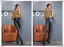 Load image into Gallery viewer, Women's PU Leather Pants High Elastic Waist Leggings Not Striped Crack Slim